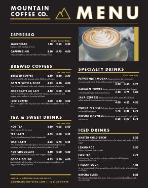 Coffee Food Cart Menu Poster