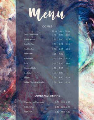 Abstract Coffee Menu
