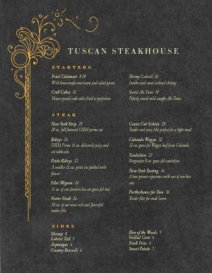 Upscale Steakhouse Menu