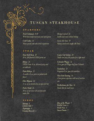 Upscale Steakhouse Menu