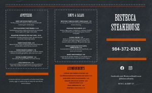 Simple Steakhouse Takeout Menu