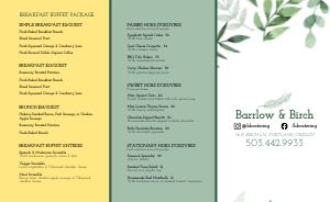 Brunch Catering Takeout Menu