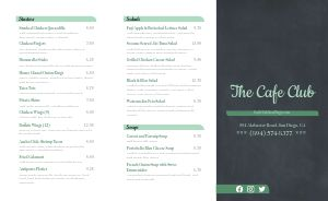 Club Cafe Takeout Menu