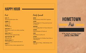Hometown Pub Takeout Menu