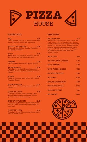 Color Block Pizza Menu