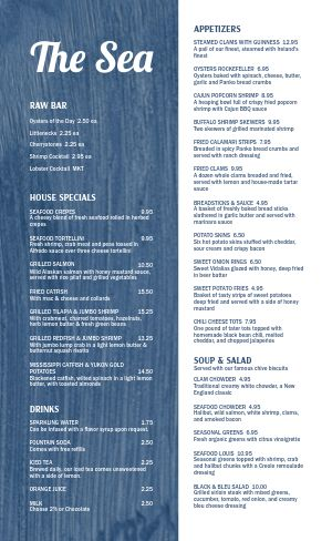 Split Seafood Menu