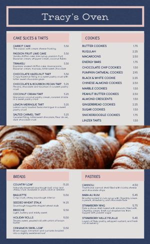 Elegant Bakery Menu