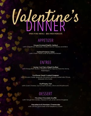 Valentines Night Out Menu