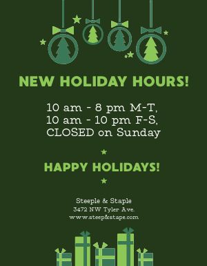 Holiday Business Hours Flyer