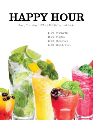 Refreshing Happy Hour Flyer