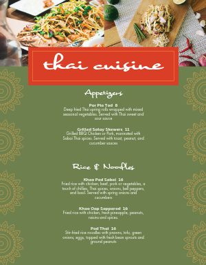 Thai Cuisine Menu