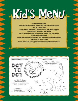 Jungle Kids Breakfast Menu
