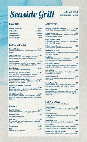 Seafood Grill Menu