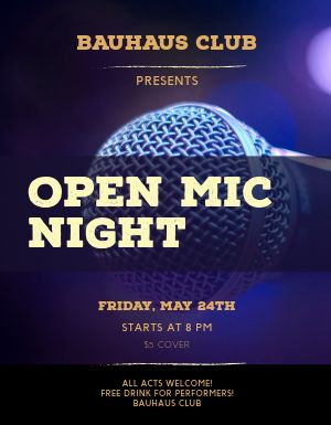 Open Mic Bar Flyer