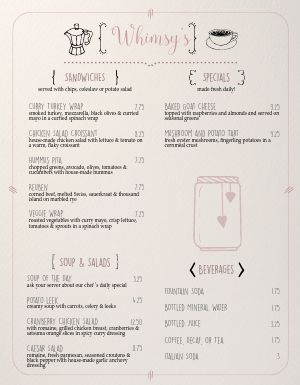 Quaint Cafe Menu