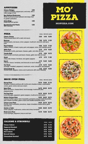 Traditional Pizza Menu