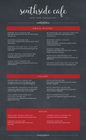 Cafe Gray Menu