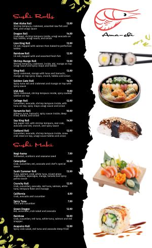 Seafood Japanese Menu