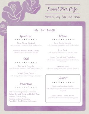 Mothers Day Cafe Menu