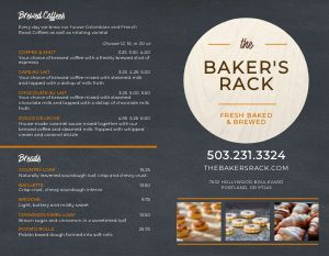 Contemporary Bakery Bifold Takeout Menu