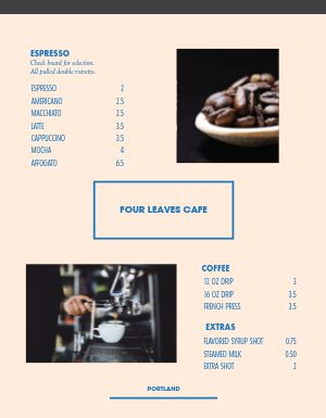 Coffee Mocha Menu