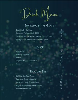 Bar Lounge Menu