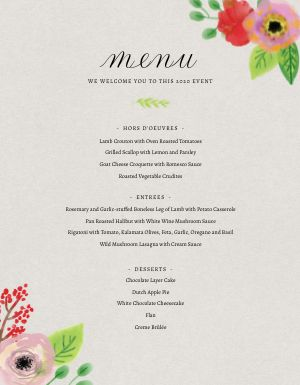 Floral Private Event Menu