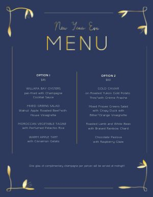 Fancy New Years Eve Menu