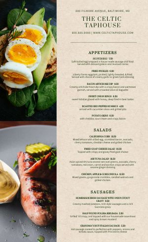Upscale Irish Menu