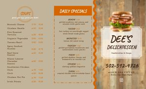 Wood Delicatessen Deli Takeout Menu