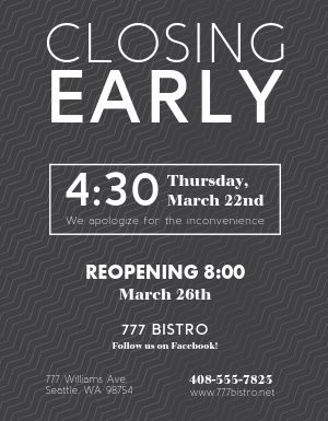 Closing Early Flyer
