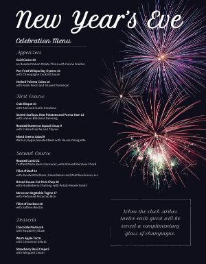 New Years Eve Fireworks Menu