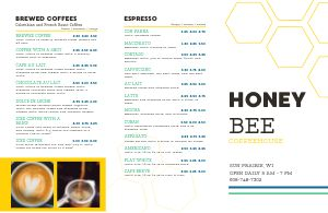 Coffee Honey Folded Menu
