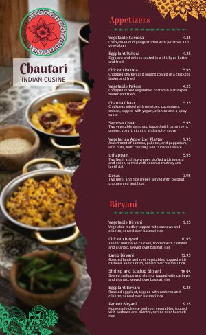 Indian Dining Menu