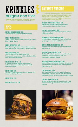 Burger Menu Inspiration