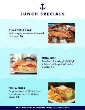 Seafood Specials Menu