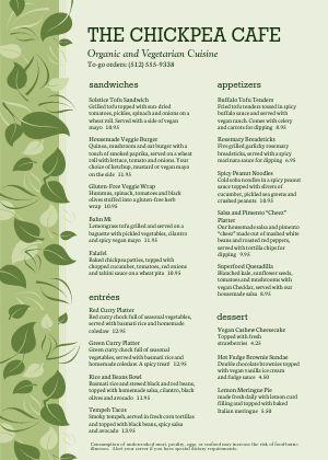 Vegan Cafe A4 Menu