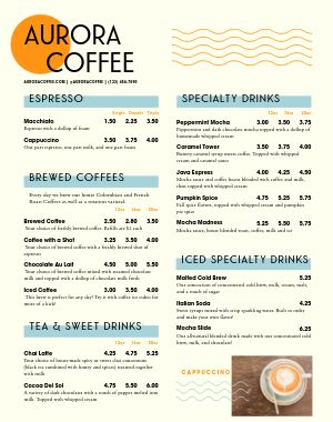 Coffee Cart Menu Poster
