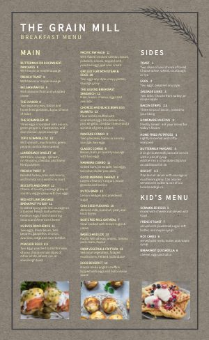 Gray Breakfast Menu