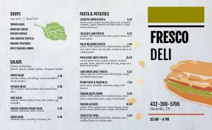 Fresh Deli Takeout Menu