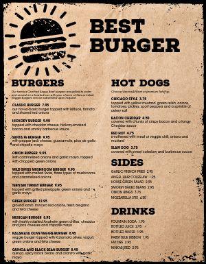 Parchment Burger Menu