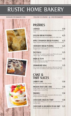 Hometown Bakery Menu