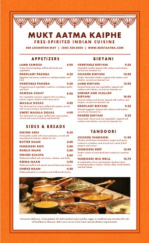 Indian Lunch Menu