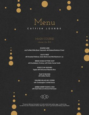 New Years Entree Menu
