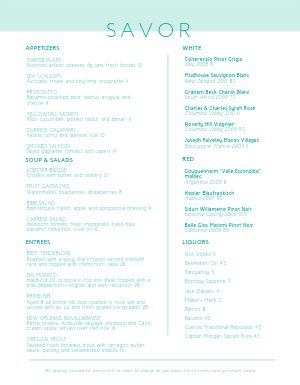 Broad Fine Dining Menu