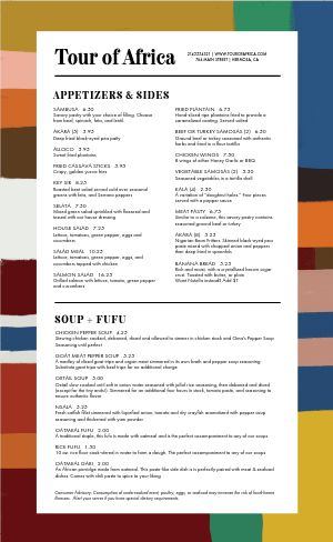 Colorful African Cuisine Menu