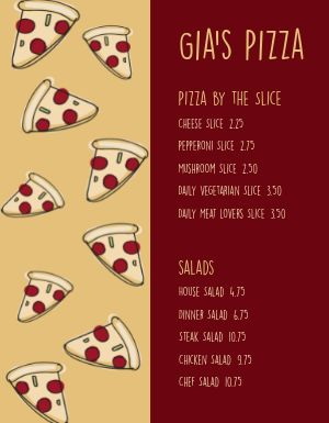 Cartoon Pizza Menu