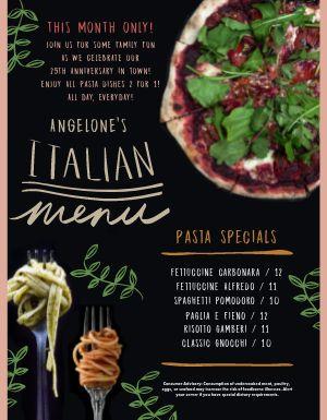 Italian Veggie Menu