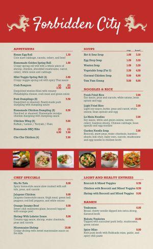 Chinese Dinner Menu