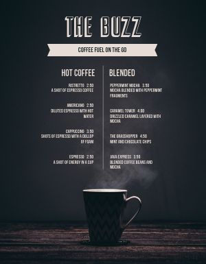Bold Coffee Menu